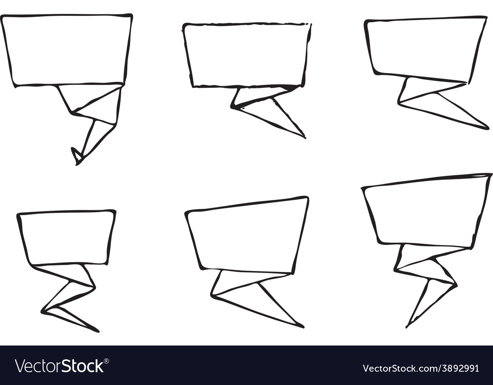 Set of hand-drawn origami banners vector image