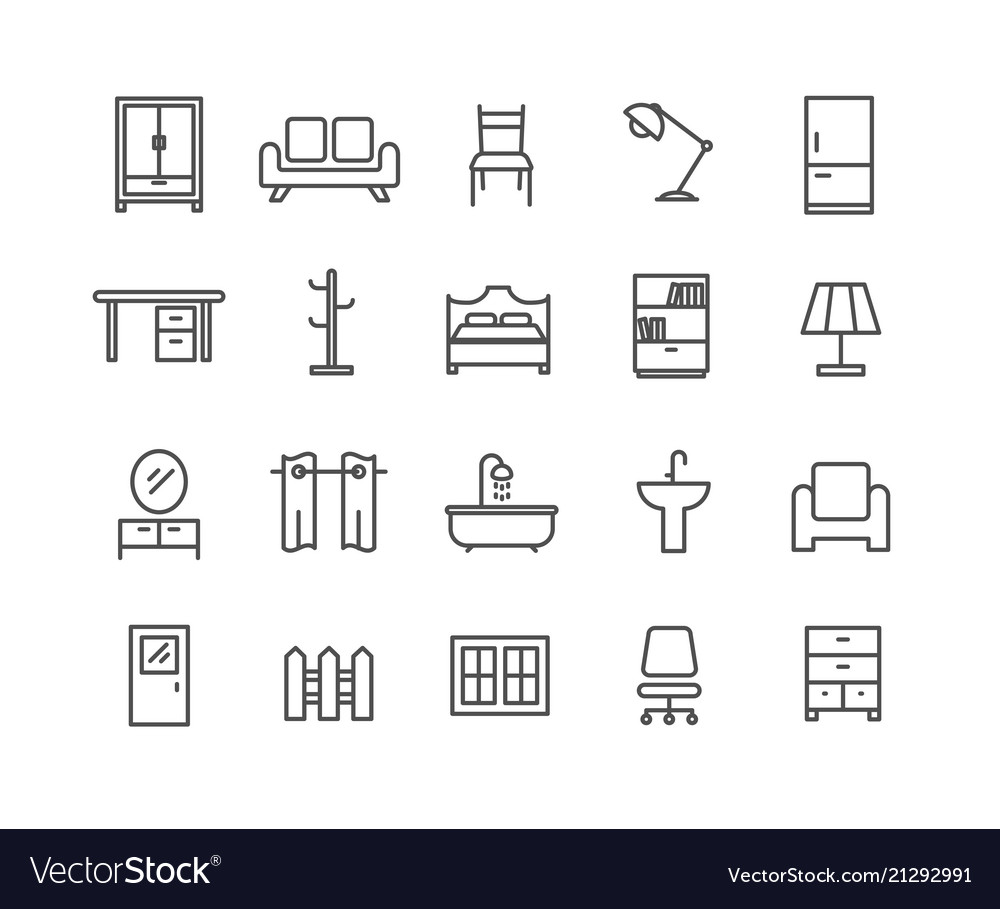 Simple set of furniture thin line icons