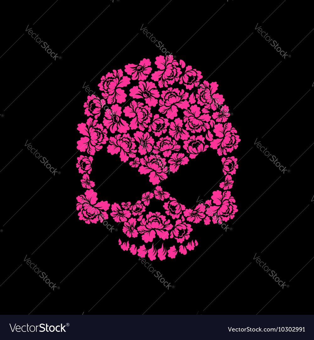 Skull of roses on a black background flower skull vector image mightylinksfo
