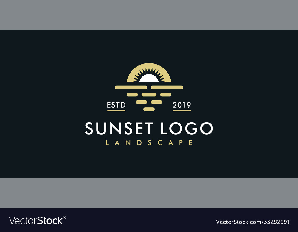 Sunset or sunrise logo design template