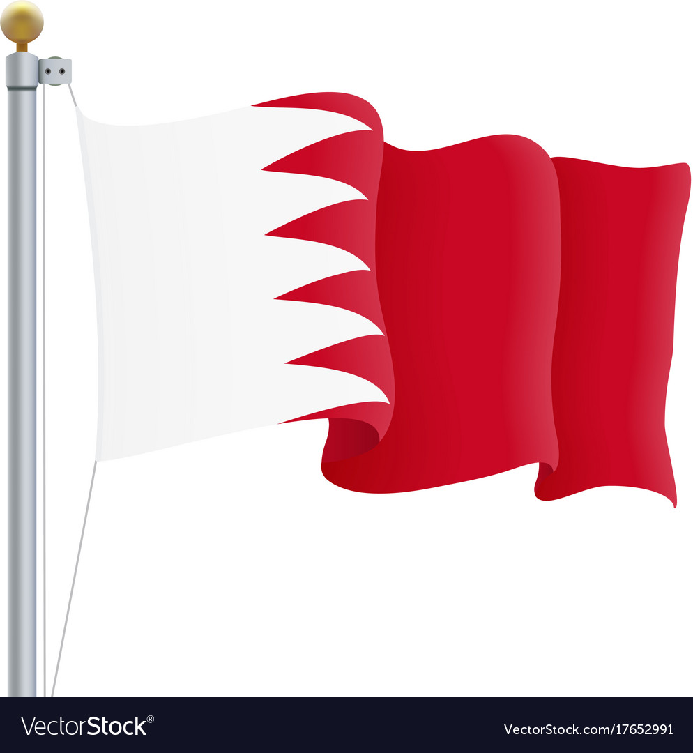 Waving bahrain flag isolated on a white background vector image