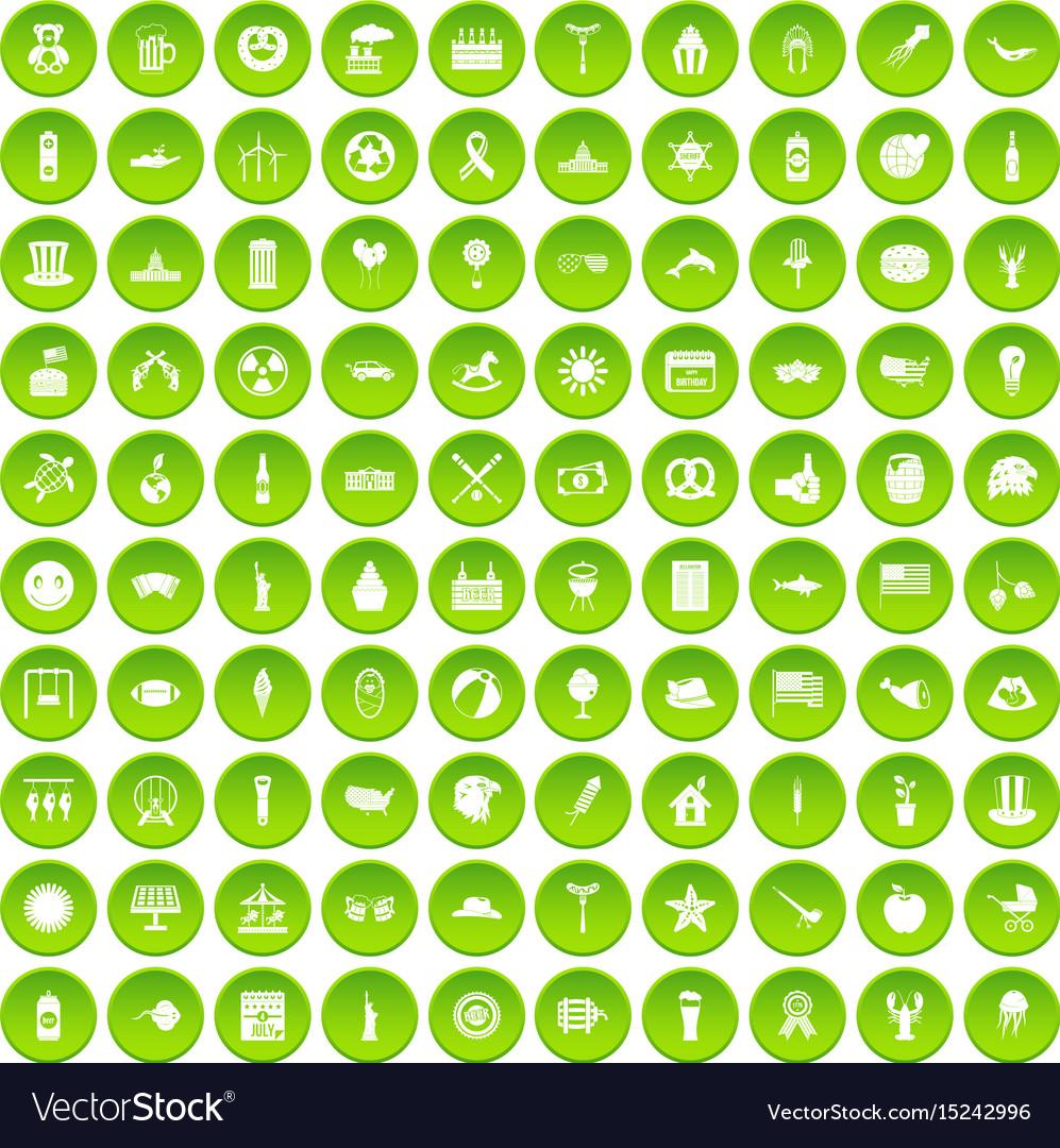 100 summer holidays icons set green circle