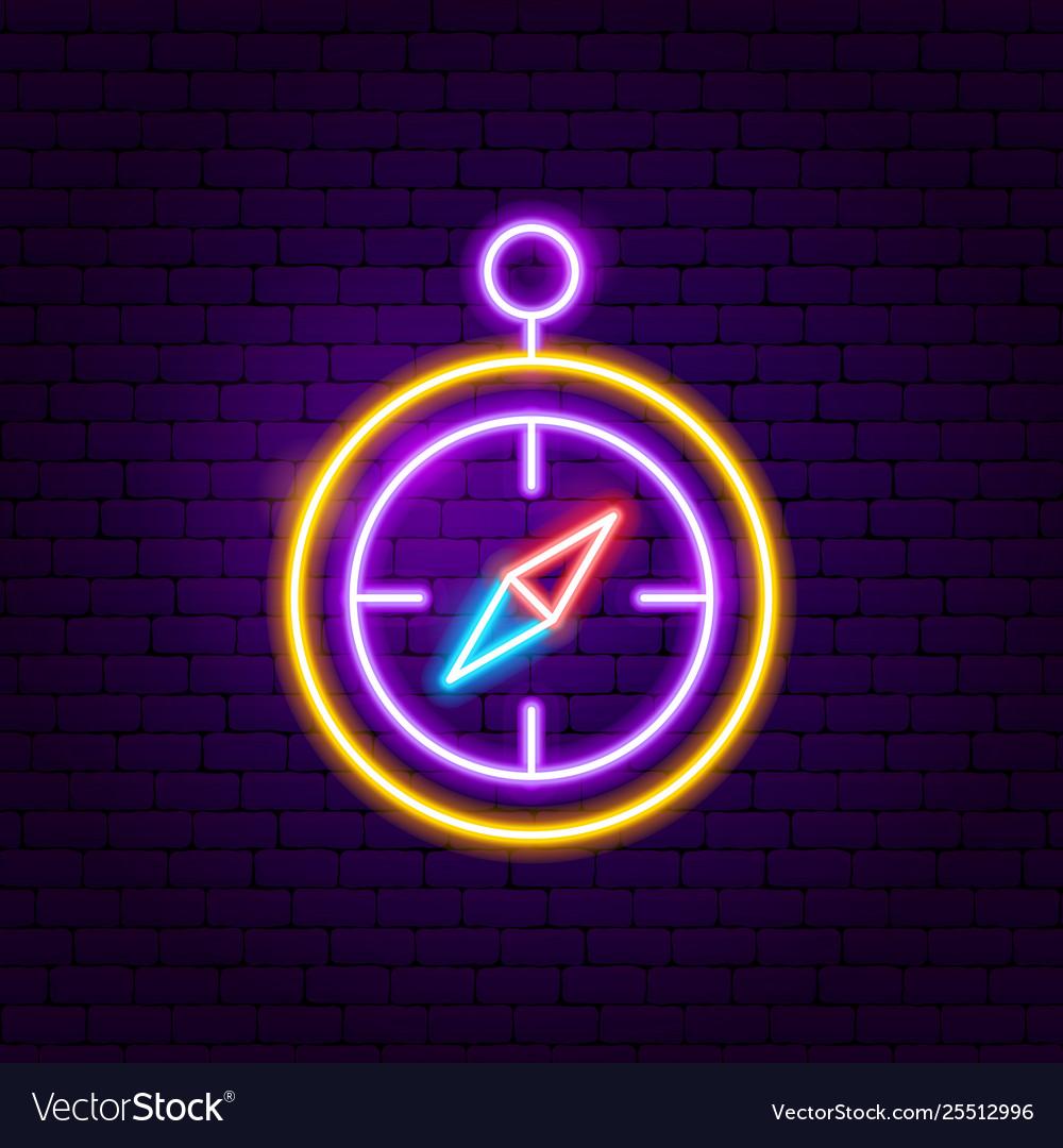 Compass neon label