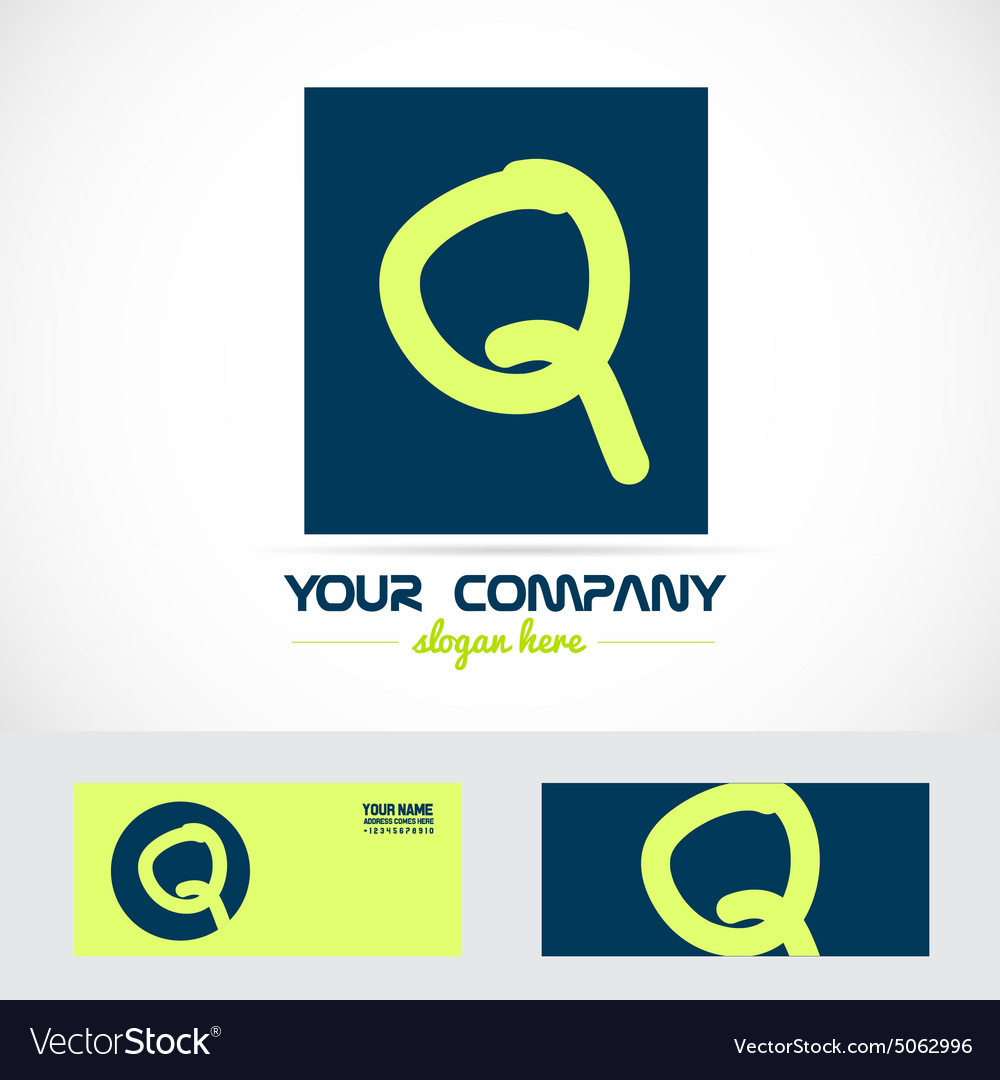 Green blue letter q logo vector image