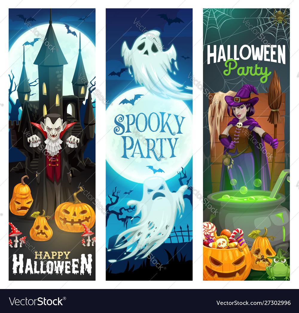 Halloween ghost pumpkins bats witch and vampire