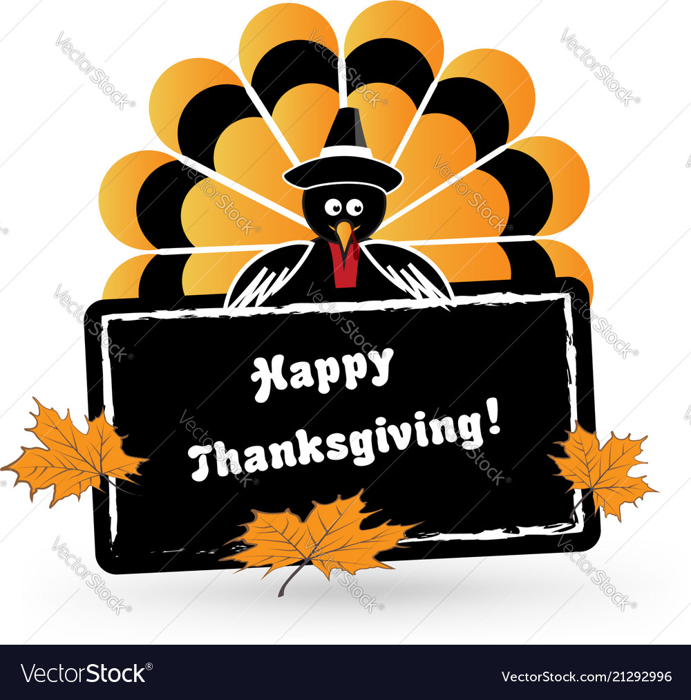 Happy thanksgiving turkey card icon