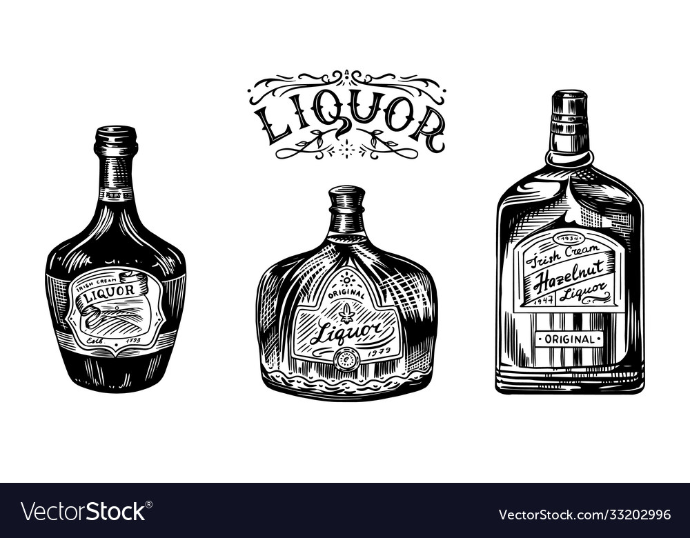 Liquor in a glass bottle alcoholic beverage