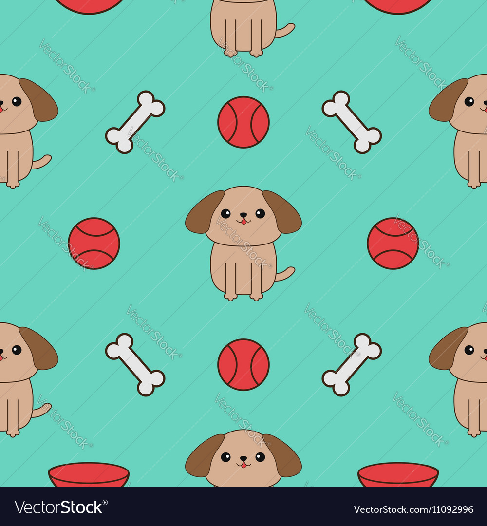 Seamless Pattern with dog bone plate ball toy