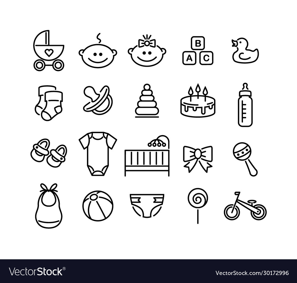 Set baby icons flat style signs