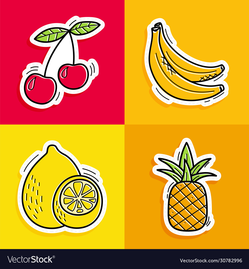 Stickers hand drawn fruits in doodle style on