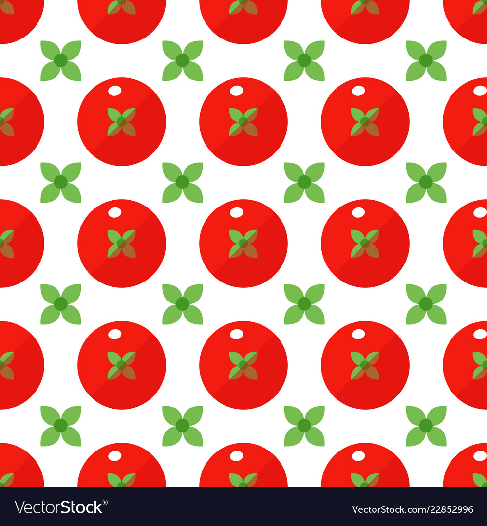 Tomatoes seamless pattern in flat style on a white