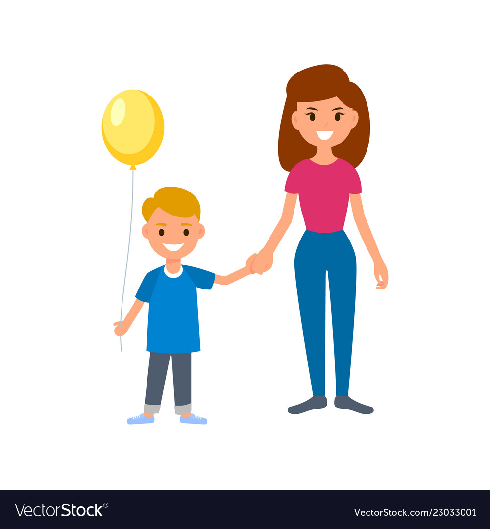 A babysitter or nanny holds the child by the hand