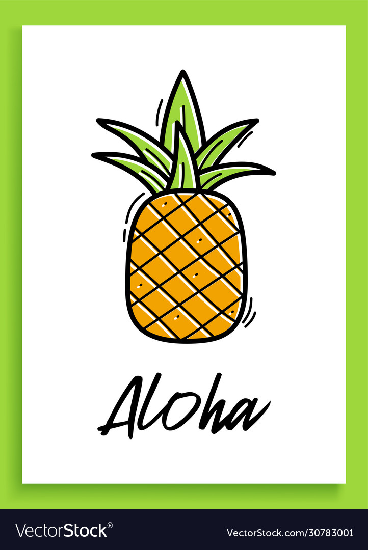 Aloha pineapple inspirational quote modern