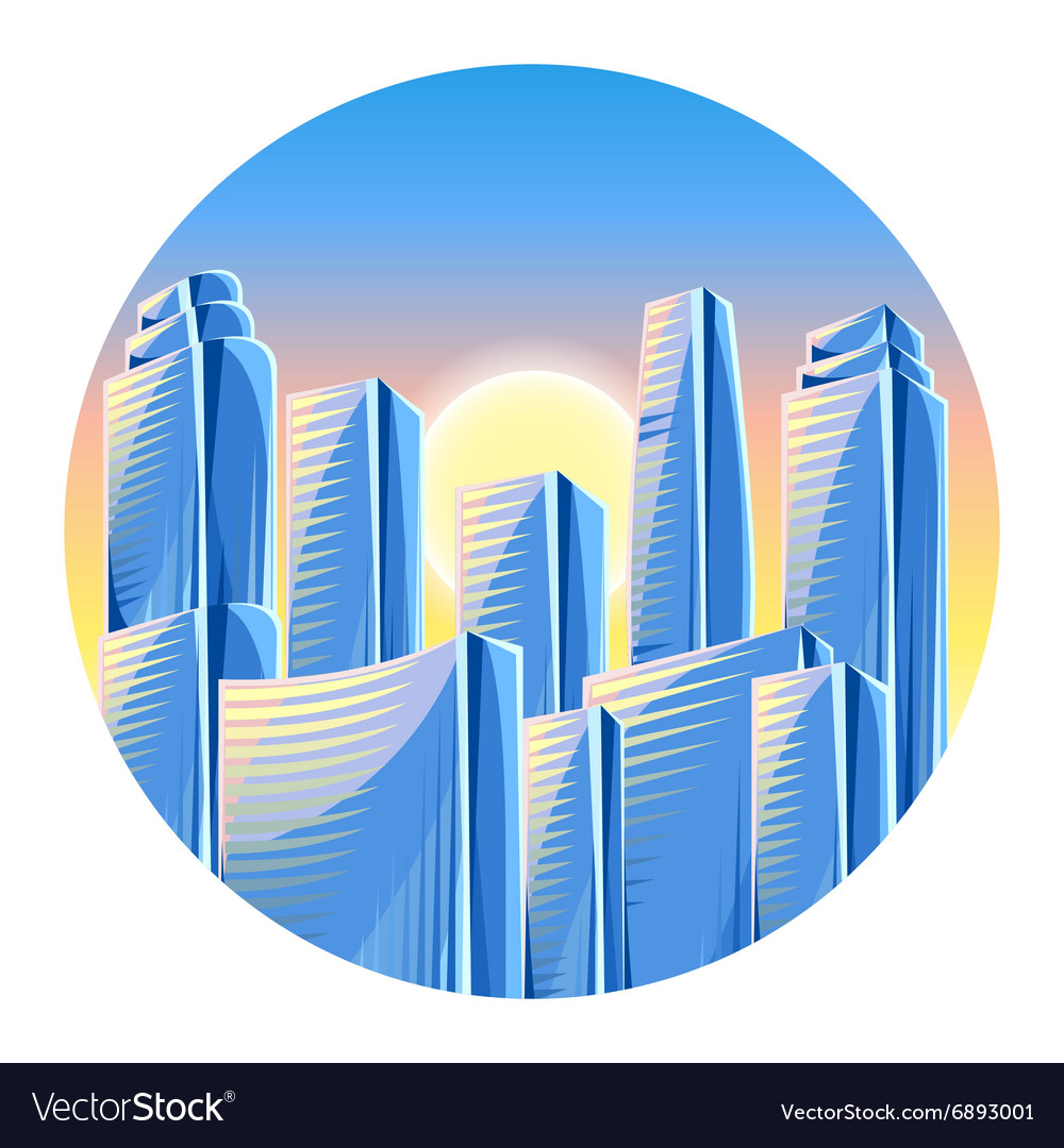 City skyscrapers background in blue colors