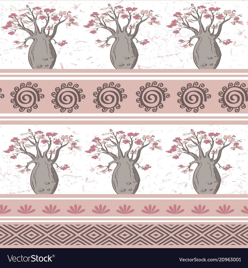 Exotic african seamless pattern with babobabs and