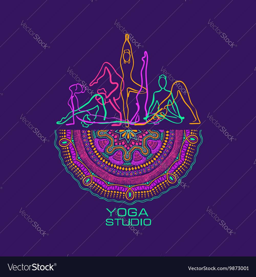 Female Silhouettes Doing Yoga Poses And Mandala