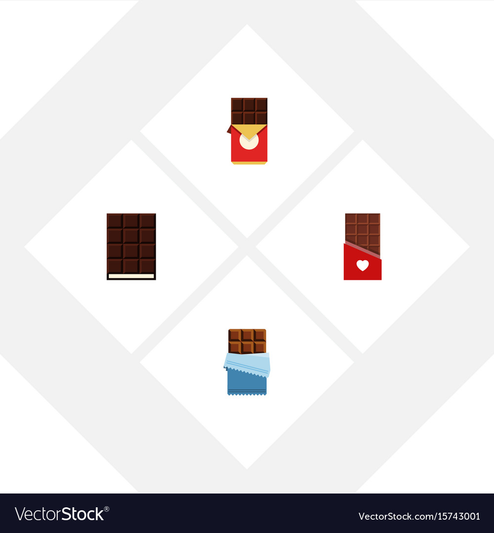 Flat icon chocolate set of dessert chocolate bar vector image