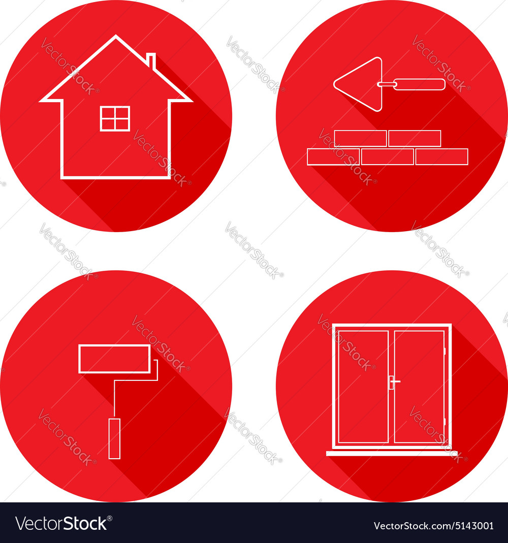 Flat icons line housing construction
