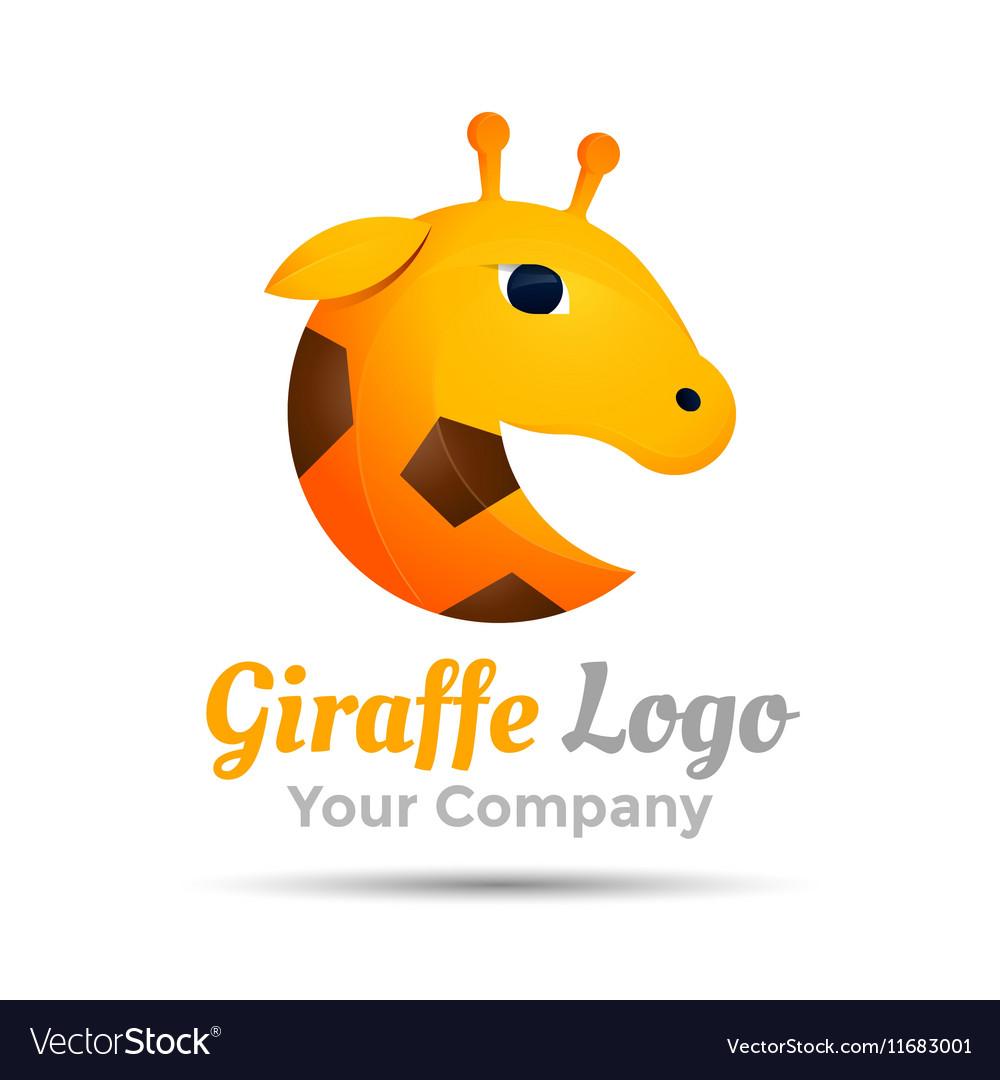 Giraffe head Colorful 3d Volume Logo Design vector image