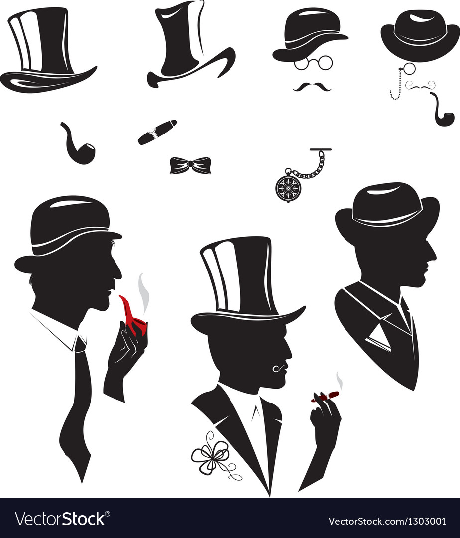 Men silhouettes smoking cigar and pipe