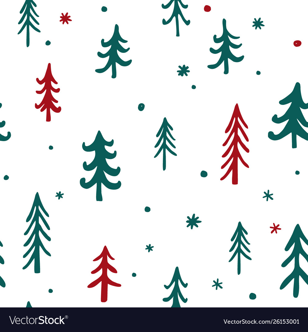 Seamless pattern christmas trees pattern