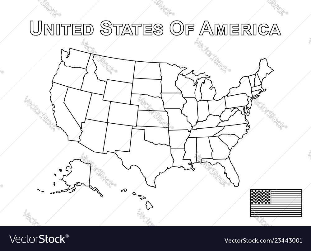 Map Of America Outline.Usa Map And American Flag Outline Style