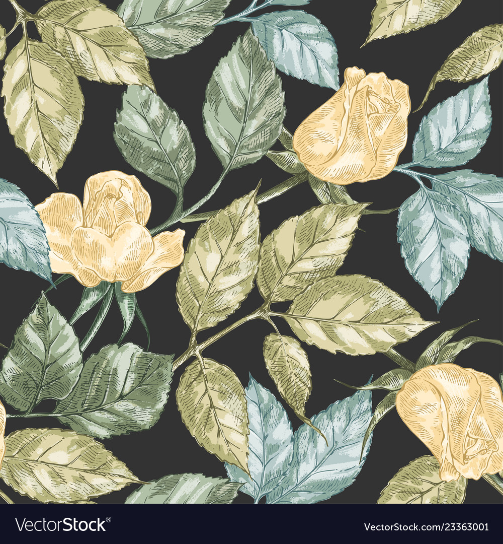 Vintage rose seamless pattern