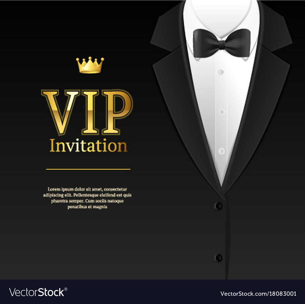 Vip invitation with bow tie royalty free vector image vip invitation with bow tie vector image stopboris Gallery