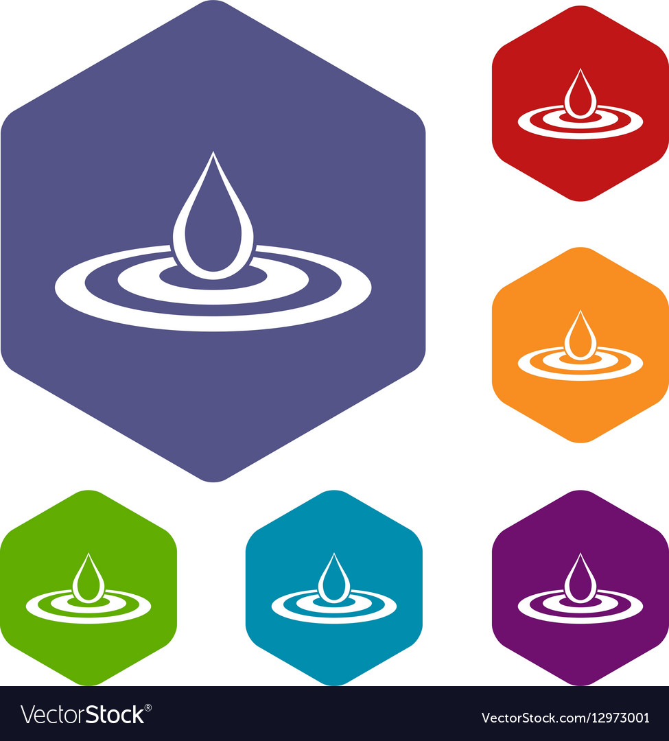 Water drop and spill icons set