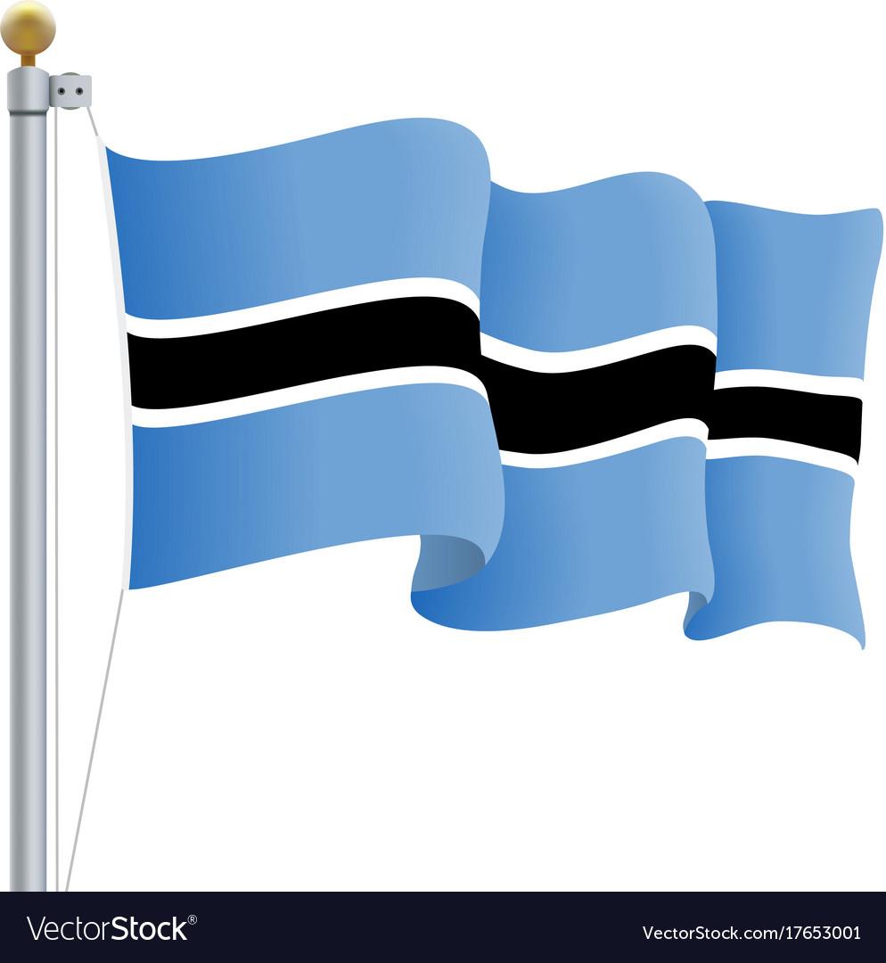 Waving botswana flag isolated on a white