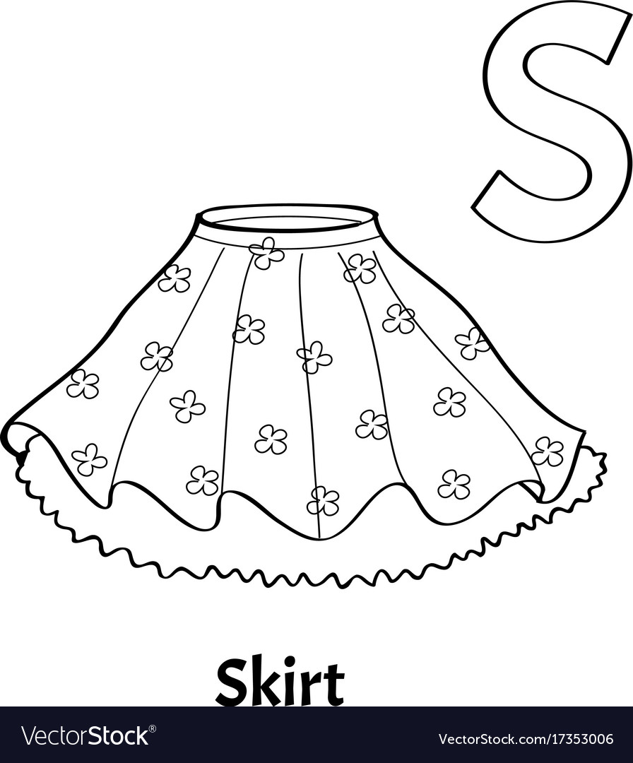 Alphabet Letter S Coloring Page Skirt Vector Image