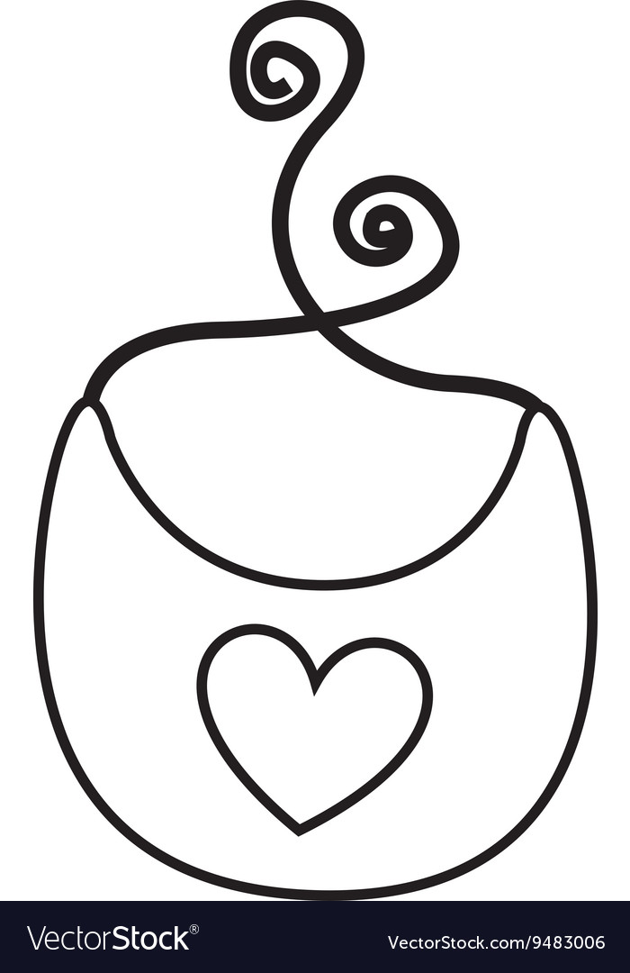 Baby bib with heart isolated icon design vector image