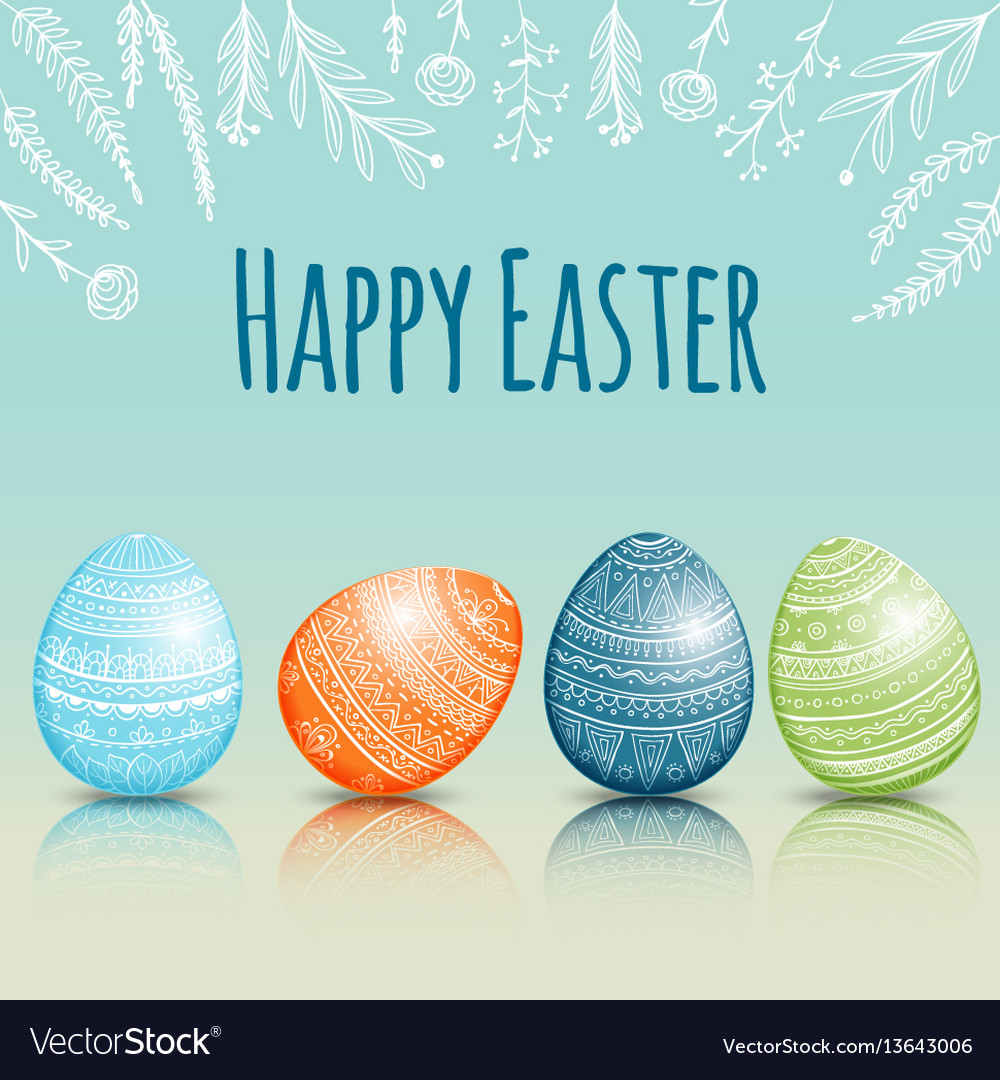 Beautiful easter card with colored easter eggs