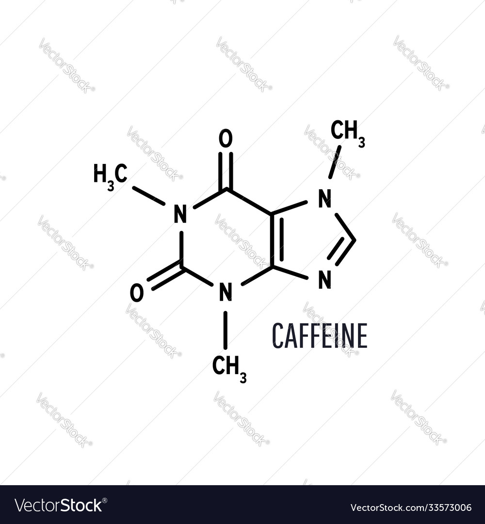 Caffeine structural chemical formula on white