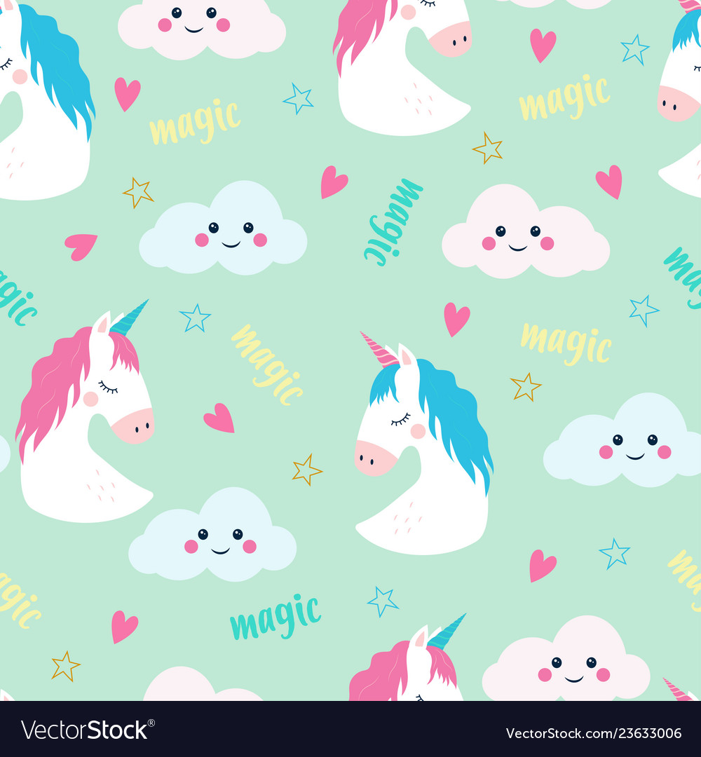 Cute hand drawn unicorn pattern