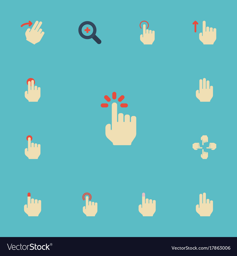 Flat icons two sensory touch and other