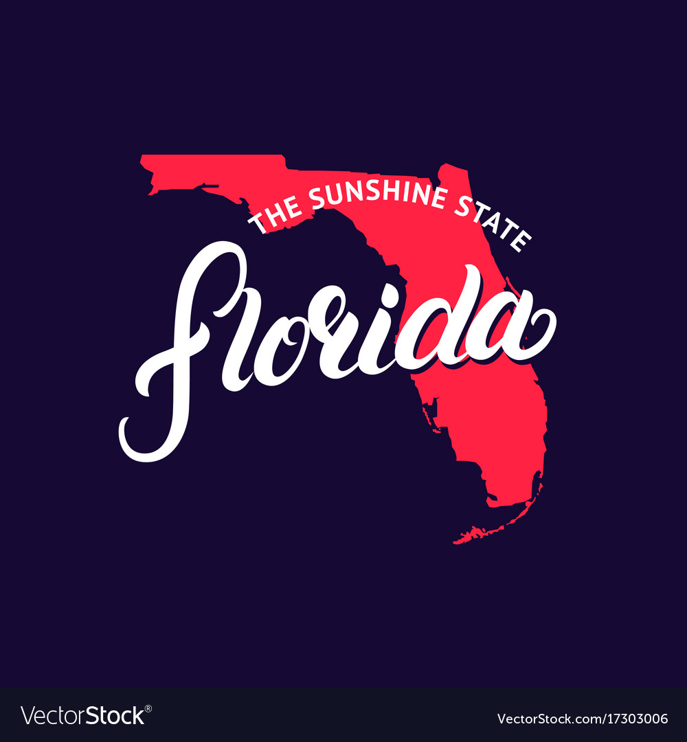 Florida state hand written lettering word and map