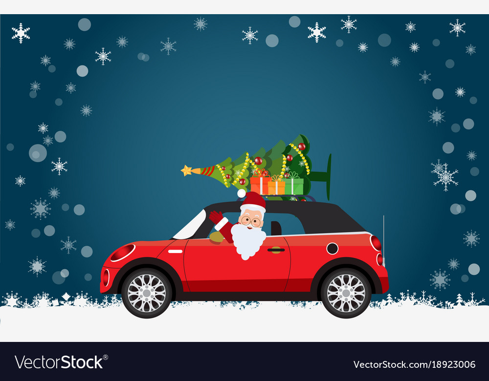 Funny santa claus is driving a red car with tree