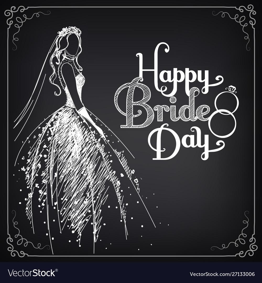 Happy bride day vintage poster