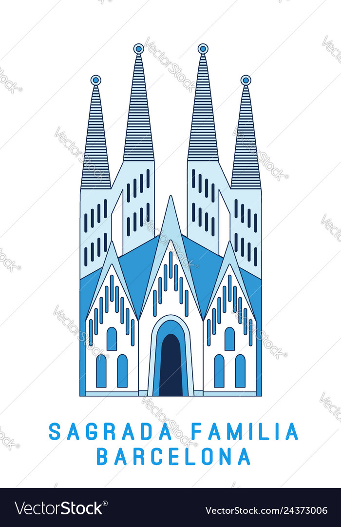 Line art sagrada familia barcelona famous spain