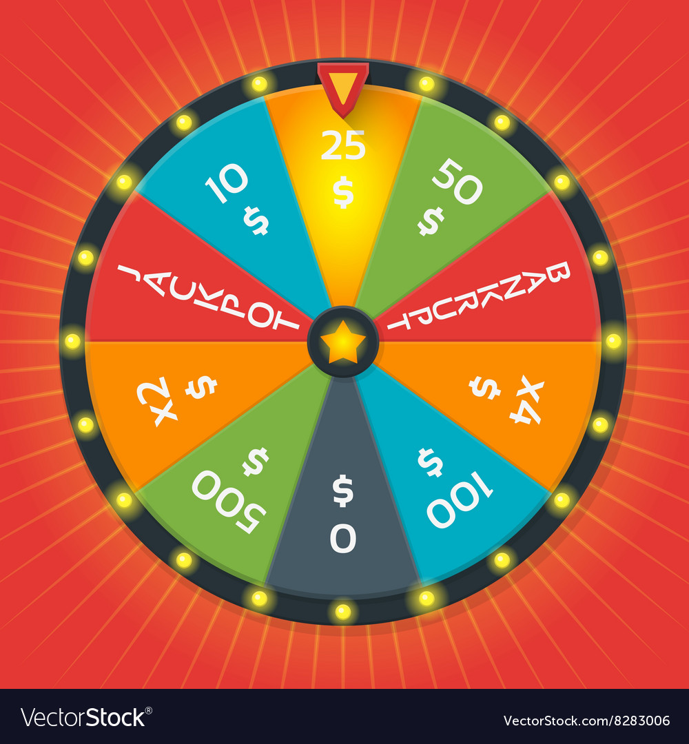 Lucky wheel template Color with money vector image