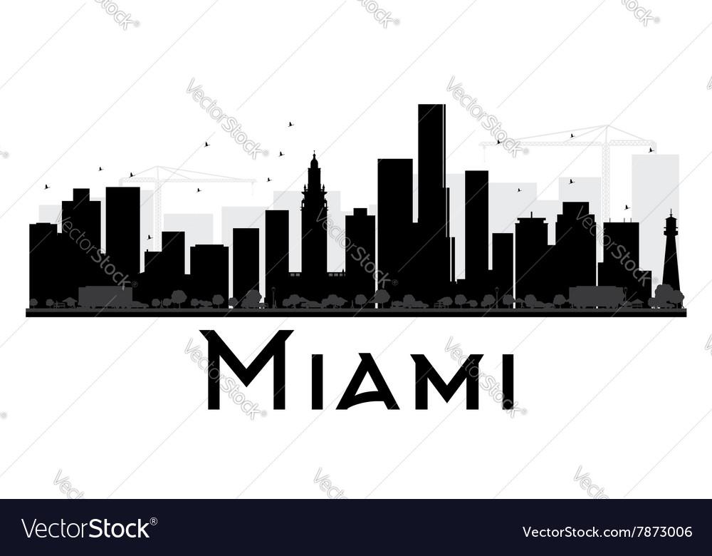 Miami City skyline black and white silhouette vector image