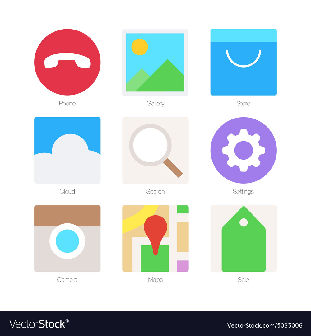 Minimal Flat Icons for mobile phones Set 2