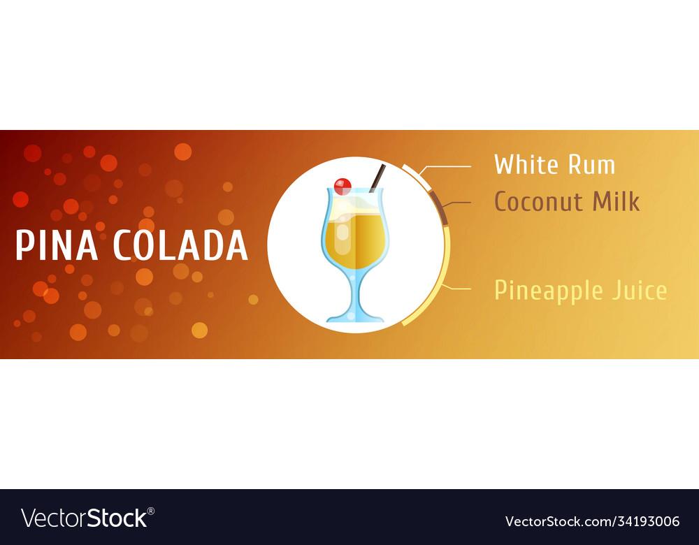 Pina colada cocktail ingredients flat stile