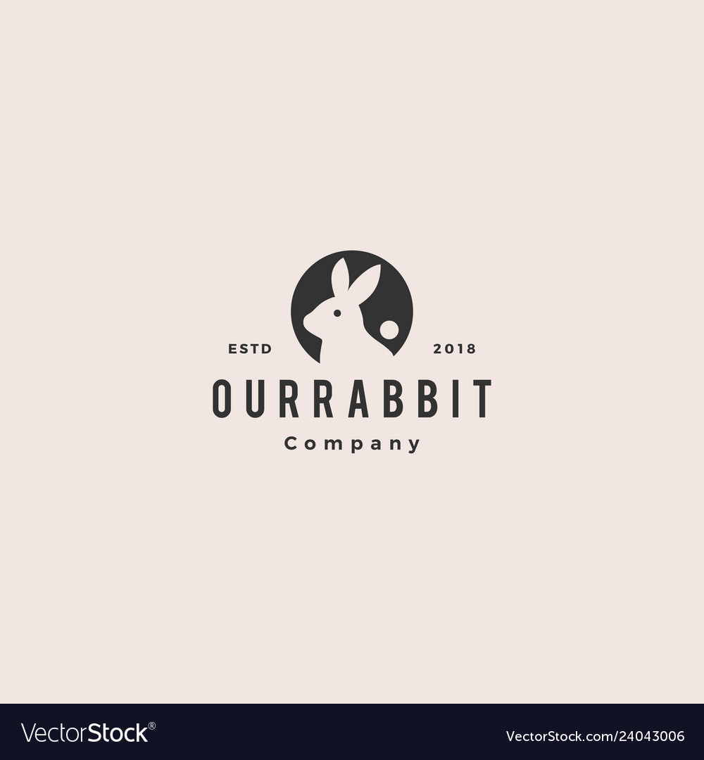 Rabbit circle round negative style logo vintage