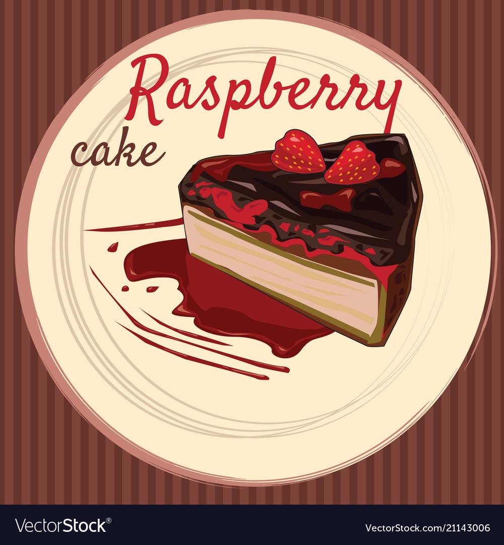 raspberry cake cartoon style flyer banner vector image