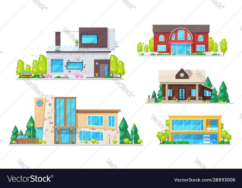 Real estate houses villas and bungalow buildings