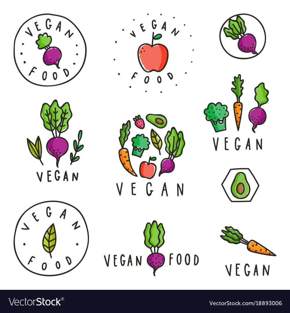 Set of vegan food badges