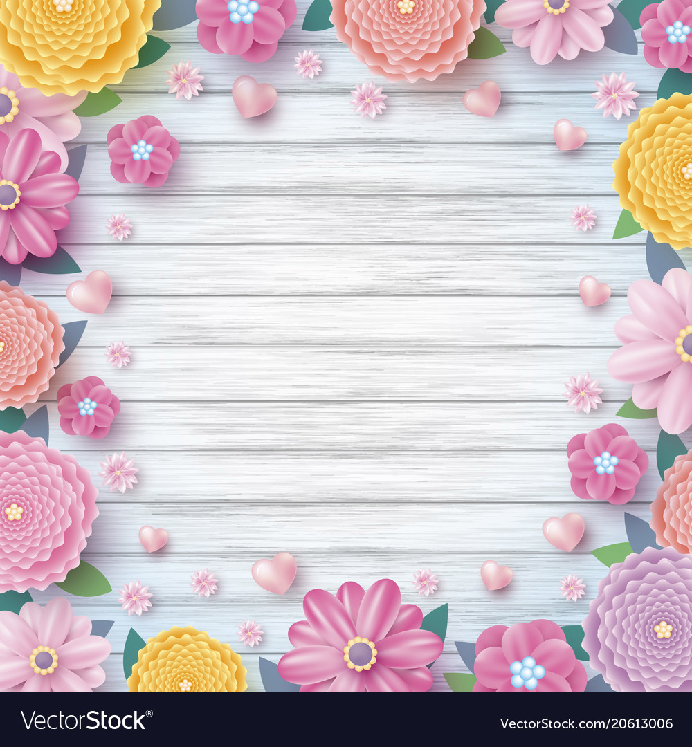 Spring design of colorful flowers and hearts