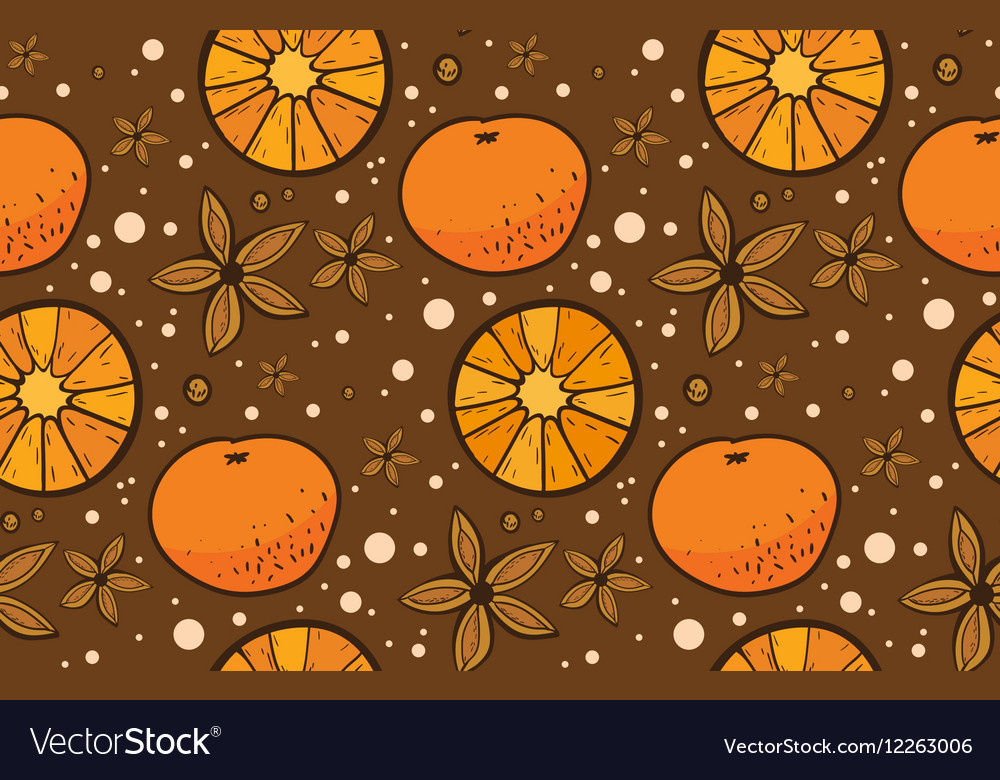 Star anise and tangerine Christmas pattern